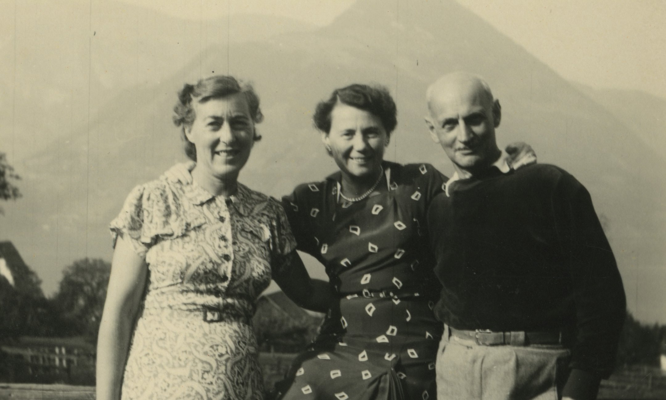Fritzi Frank, Rosa de Winter-Levy, and Otto Frank on a mountain hike in Switzerland, around 1950.