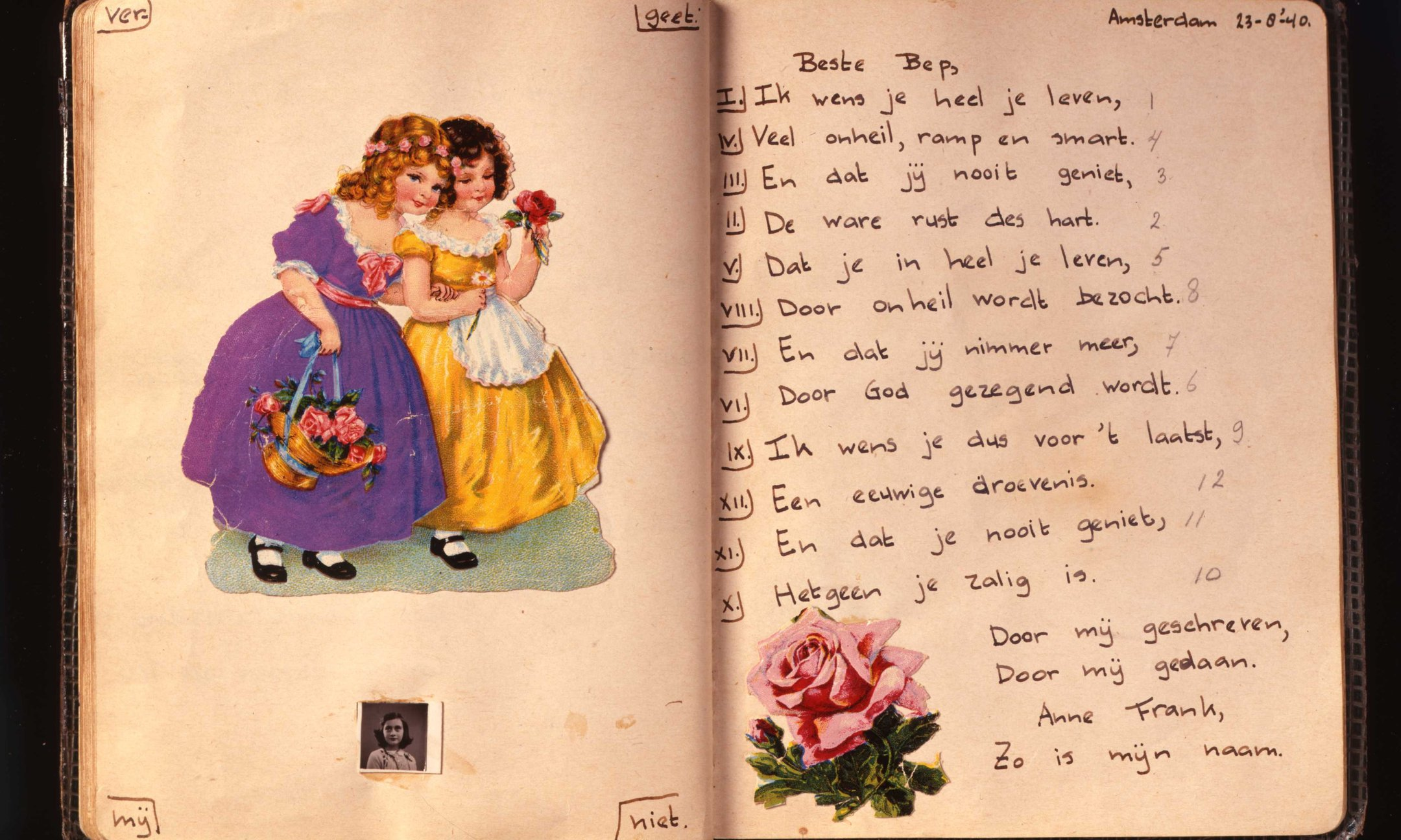 Friendship book  with a verse by Anne Frank.