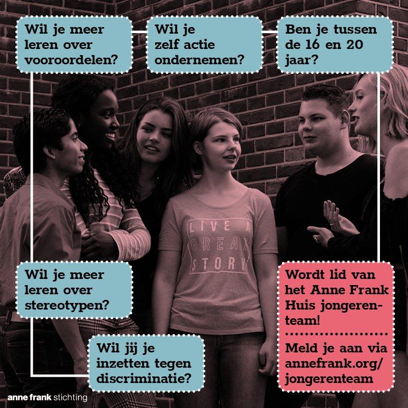 Aanmelding Anne Frank Huis Jongerenteam 2019