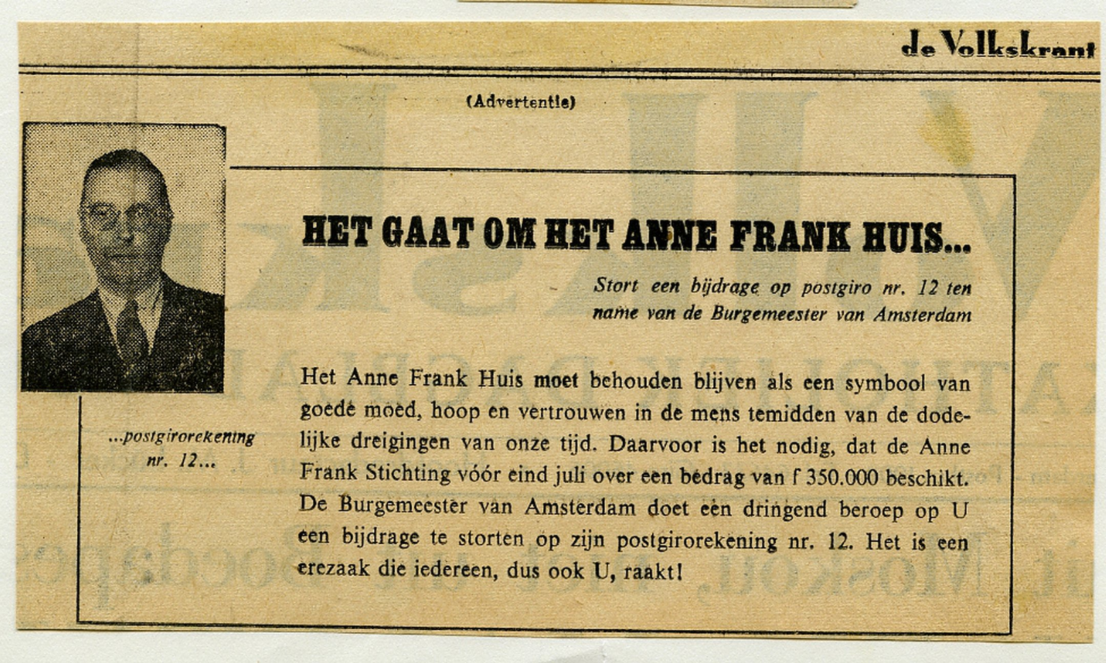 Mayor Van Hall's appeal to the public to contribute to the preservation of the Anne Frank House