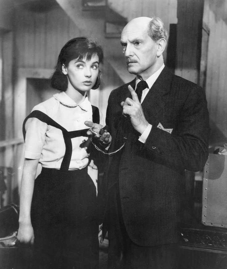 Still from the film The Diary of Anne Frank with Joseph Schildkraut (Otto Frank) and Millie Perkins (Anne Frank).