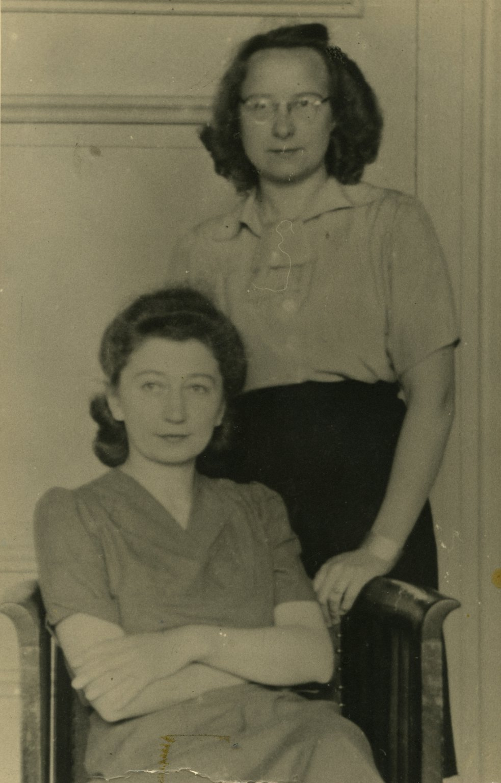Miep Gies (left) and Bep Voskuijl in the front office, October 1945.