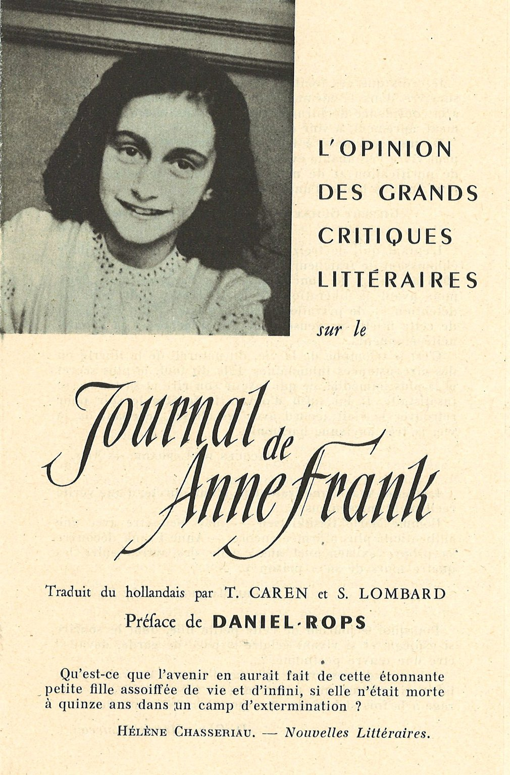Brochure from 1951 in which French critics give their opinion of the diary of Anne Frank.
