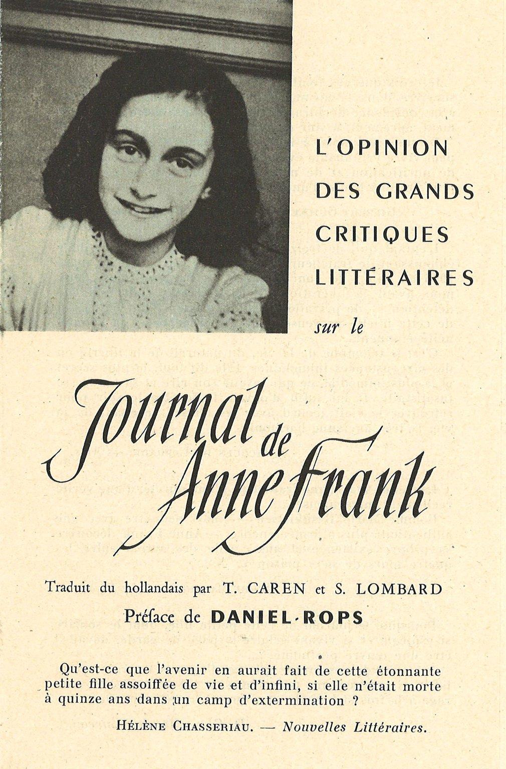 Folder uit 1951 waarin Franse critici hun mening geven over het dagboek van Anne Frank.