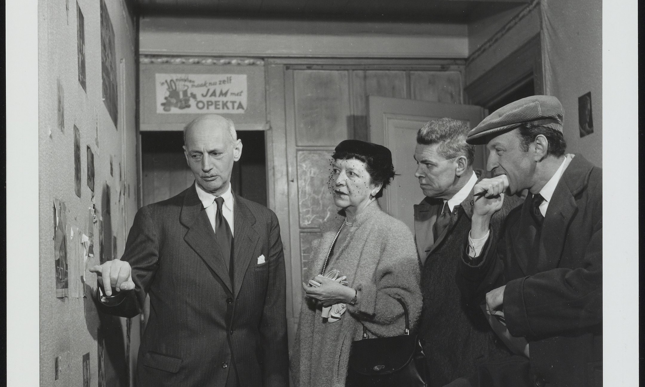 On the left: Otto Frank in 1954 in Anne's room in the Secret Annex. On the right: the writers and director of the play 'The Diary of Anne Frank', which opened on Broadway in 1955.