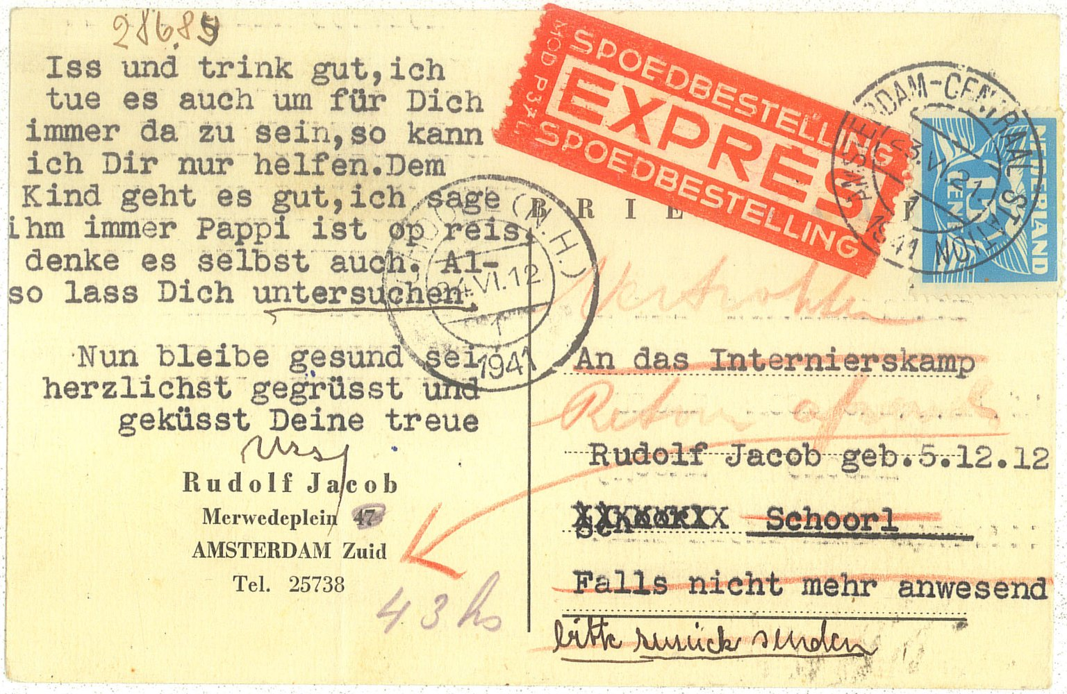 The postcard Ursula Jacob-Strelitz sent to her husband Rudolf in the Schoorl internment camp