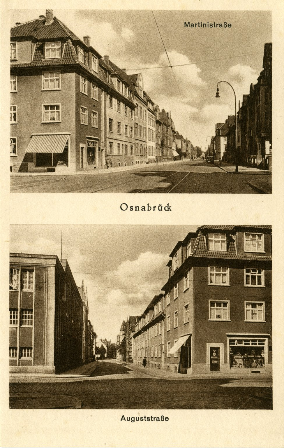 A postcard of Osnabrück, 1930s. The Van Pels family lived at Martinistraße 67a from 1930 until their departure for Amsterdam in 1937.