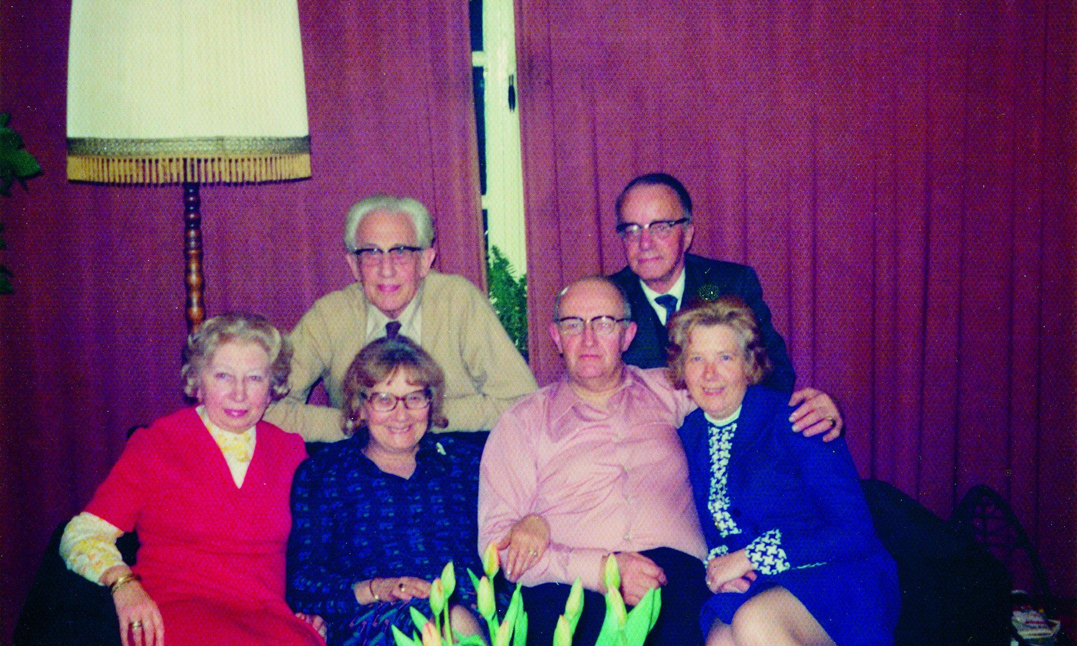 The helpers with their partners, around 1973. In the back: Jan Gies and Victor Kugler. In the front: Miep Gies, Bep van Wijk-Voskuijl, Cor van Wijk, and Loes Kugler.