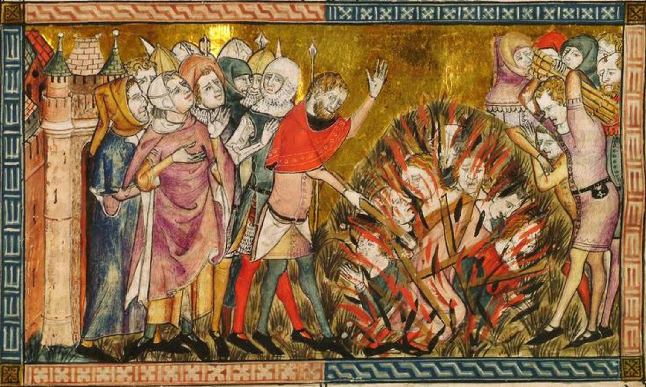 Picture of a burning of Jews (around 1353). Jews are blamed for the plague epidemic in Europe and accused of poisoning the wells.