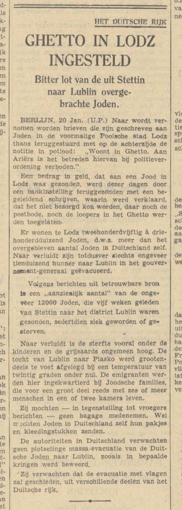 Article in the 'Algemeen Dagblad' newspaper reporting on the establishment of the Łódź ghetto (Poland). It also reports that many of the Jews deported from Stettin (Germany) to Lublin (Poland) in February 1940 have fallen ill or died. 21 March 1940.
