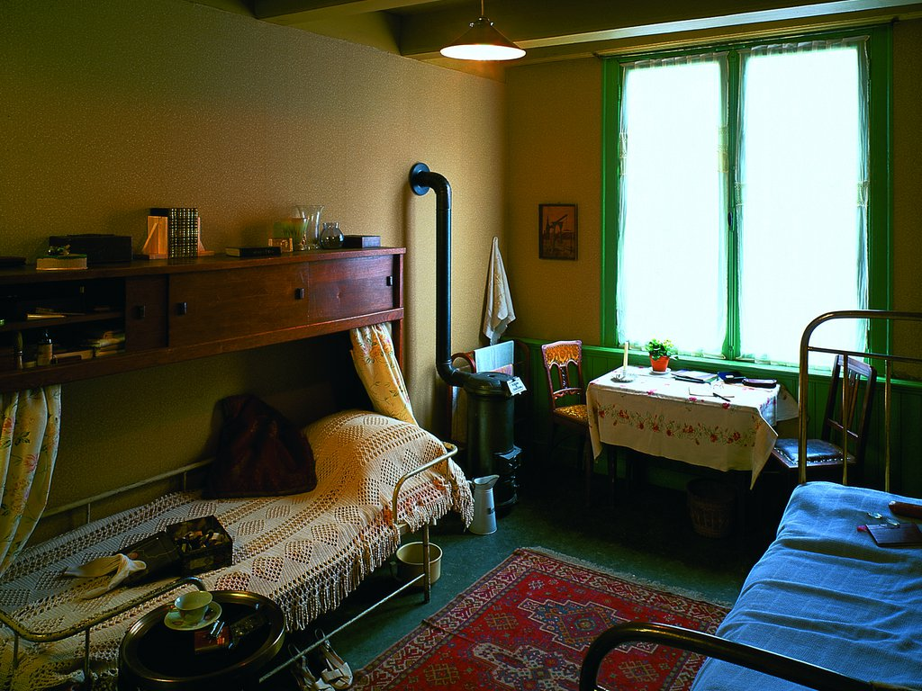 Otto, Edith and Margot Frank's room