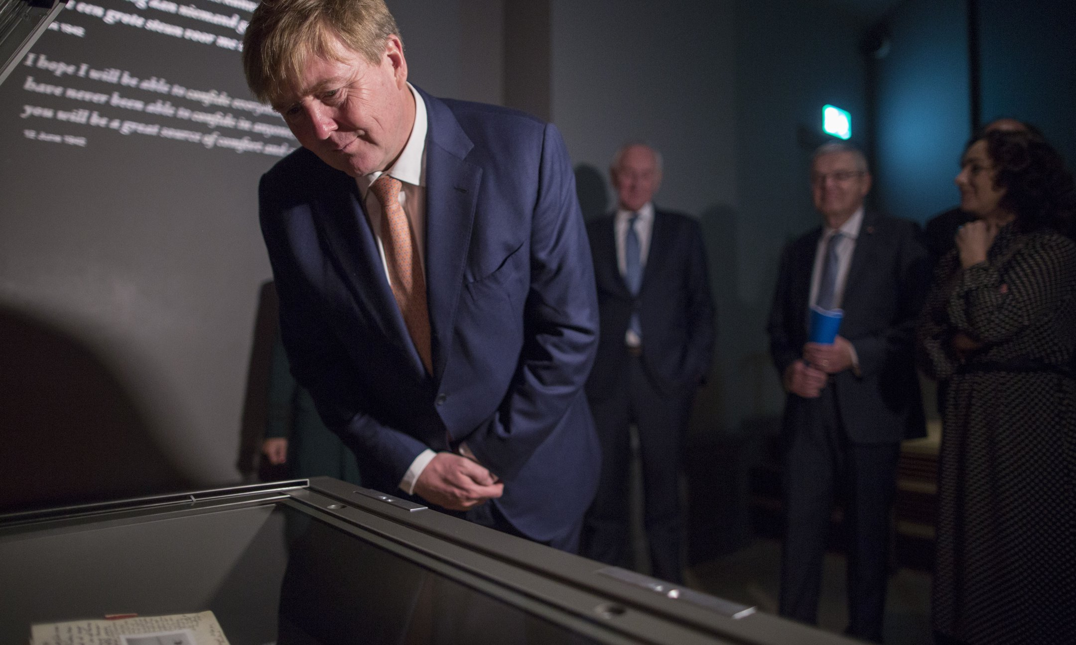King Willem-Alexander looks at Anne Frank's original diary