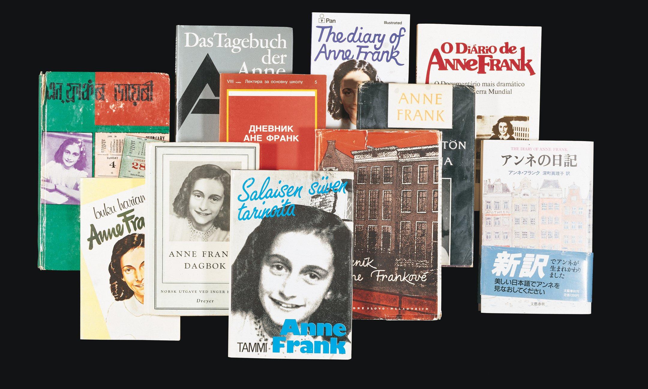 Covers van diverse vertalingen van Het Achterhuis.