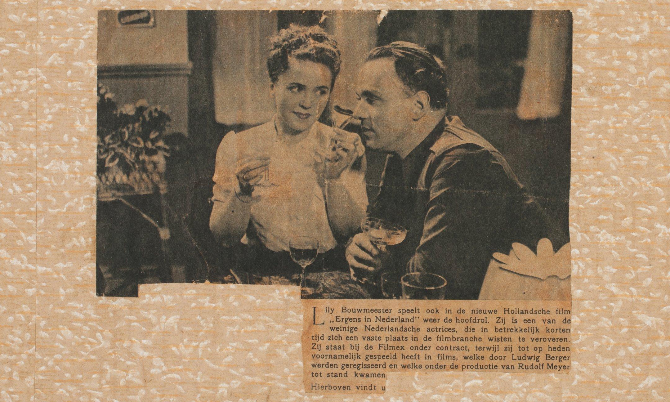 Een scène uit de film 'Ergens in Nederland' (1940), de laatste Nederlandse film voor de oorlog. Het is een liefdesverhaal, dat zich afspeelt tijdens de mobilisatie.Bron: Libelle, 17/1940.