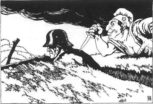 Illustratie van de 'dolkstootlegende' op een Oostenrijkse briefkaart (1919).