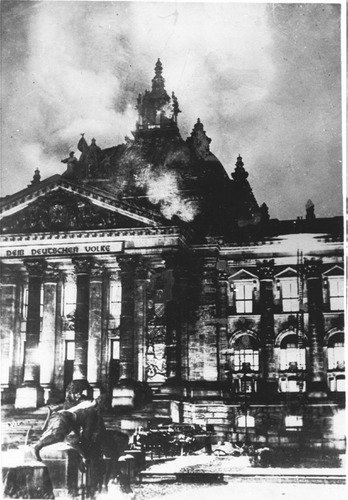 The Reichstag on fire (1933).
