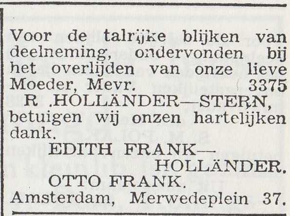 A thank-you ad from Otto and Edith for all the support after the death of Edith's mother, published in The Jewish Weekly.