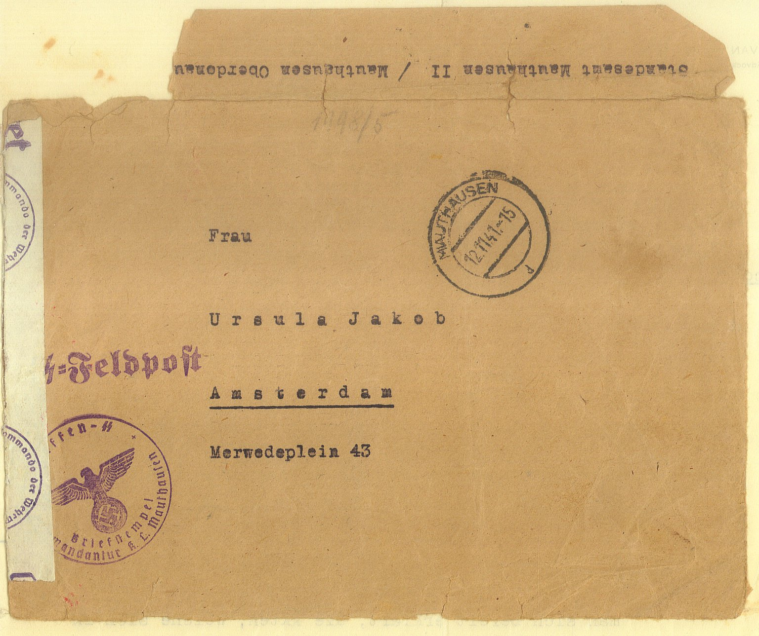 The envelope with the notice of the death of Rudolf Jacob
