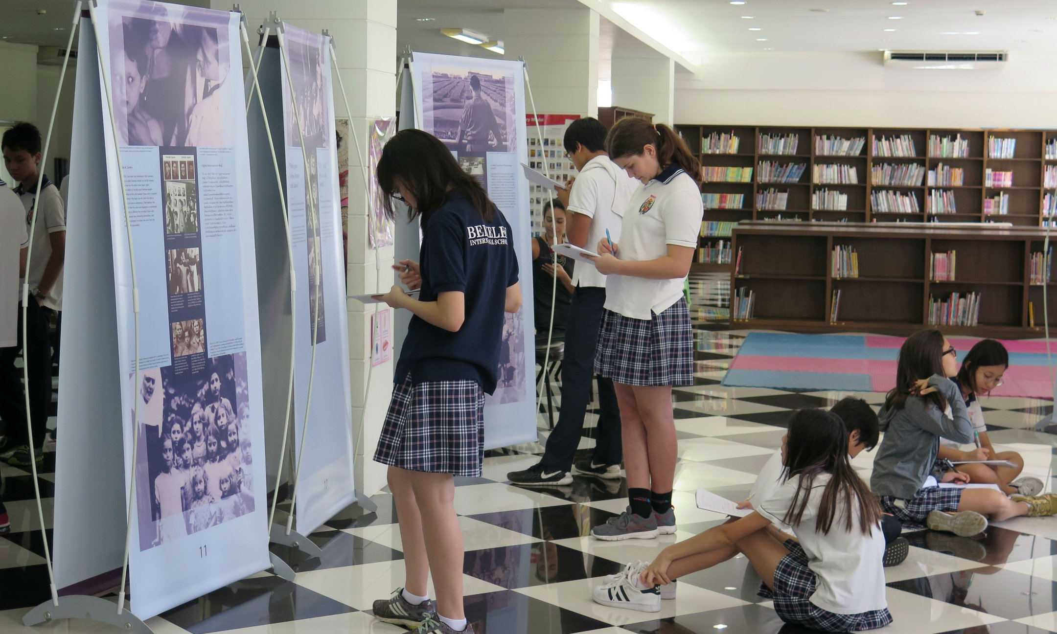 Peer guides preparing for the exhibition in Berkeley International School in Bangkok (November 2016)