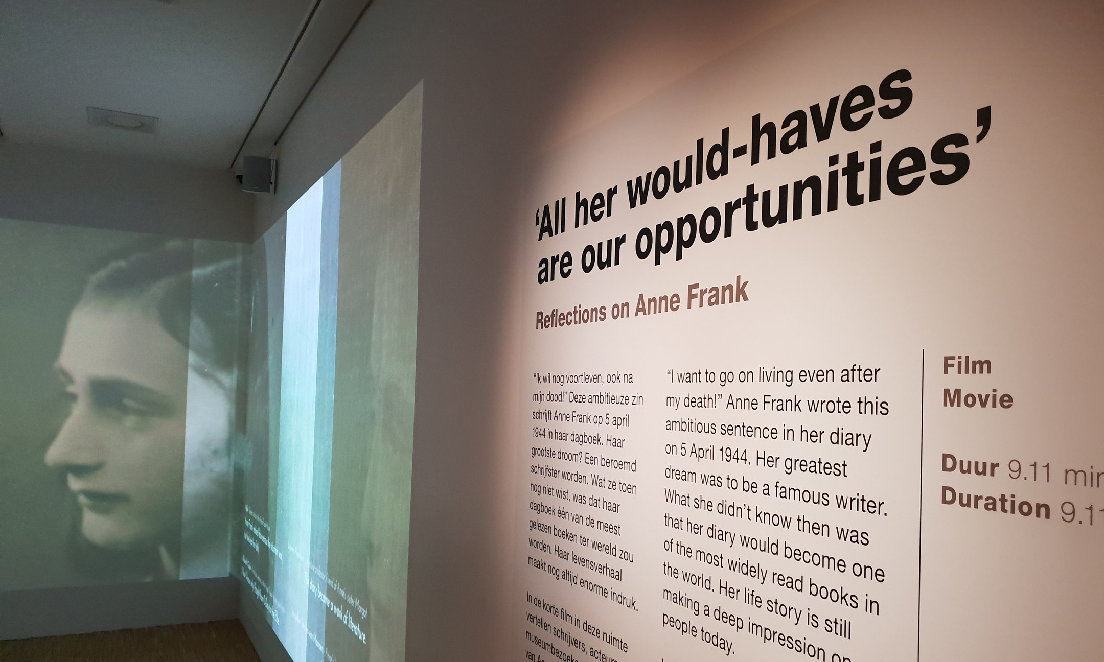 The Reflections exhibition in the Anne Frank House