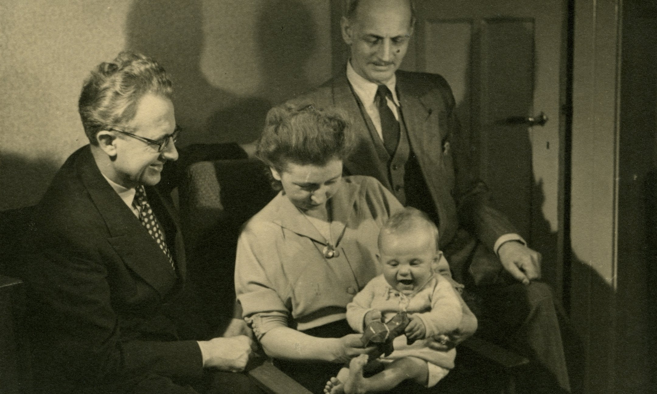 Jan and Miep Gies with their son Paul and Otto Frank, 1951.