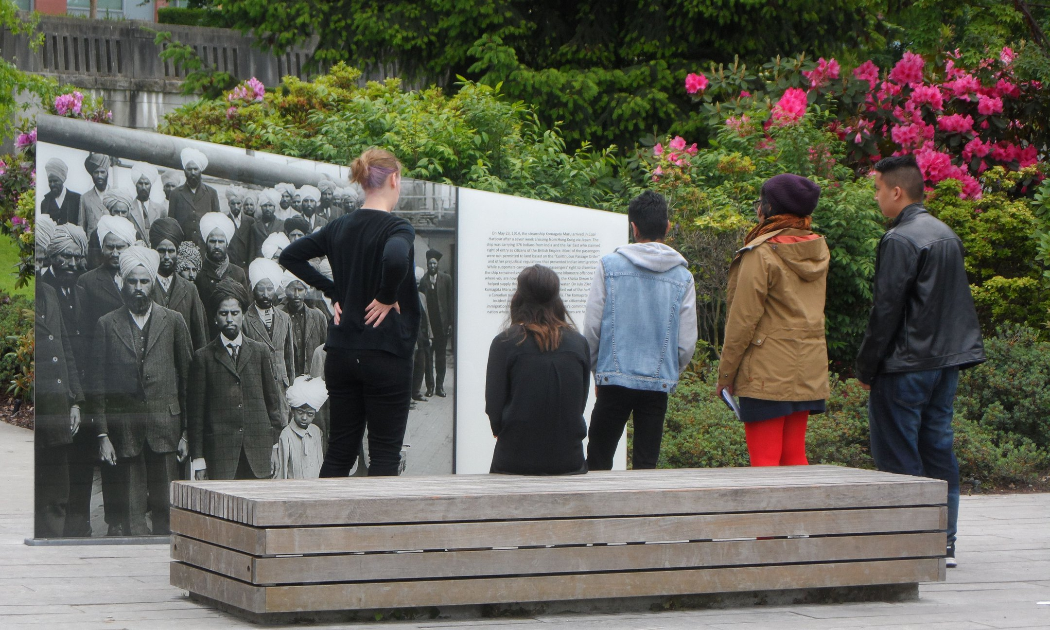 Memory Walk participants studying the monument for their film in Vancouver (May 2015)