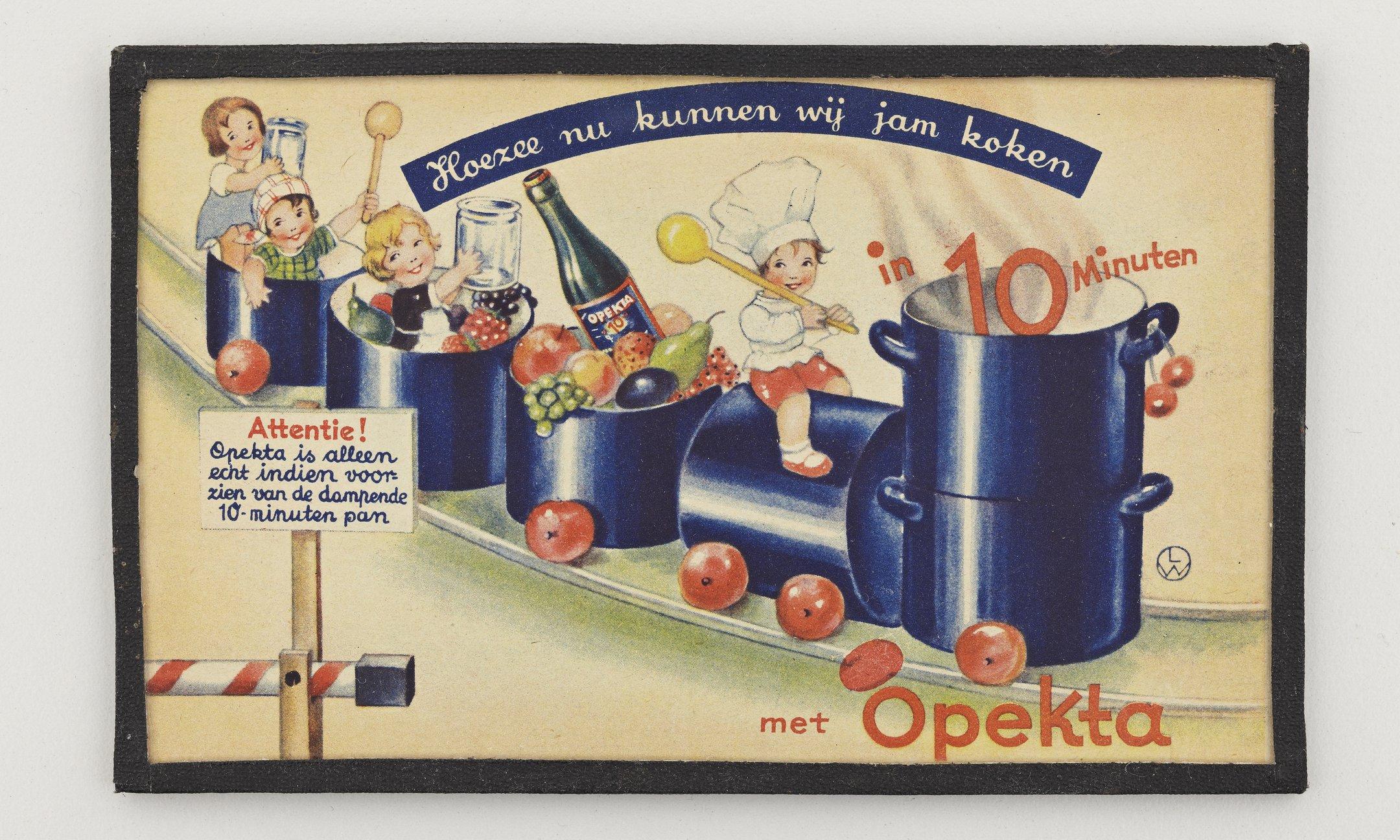 An advertising card for Opekta, 1930s.