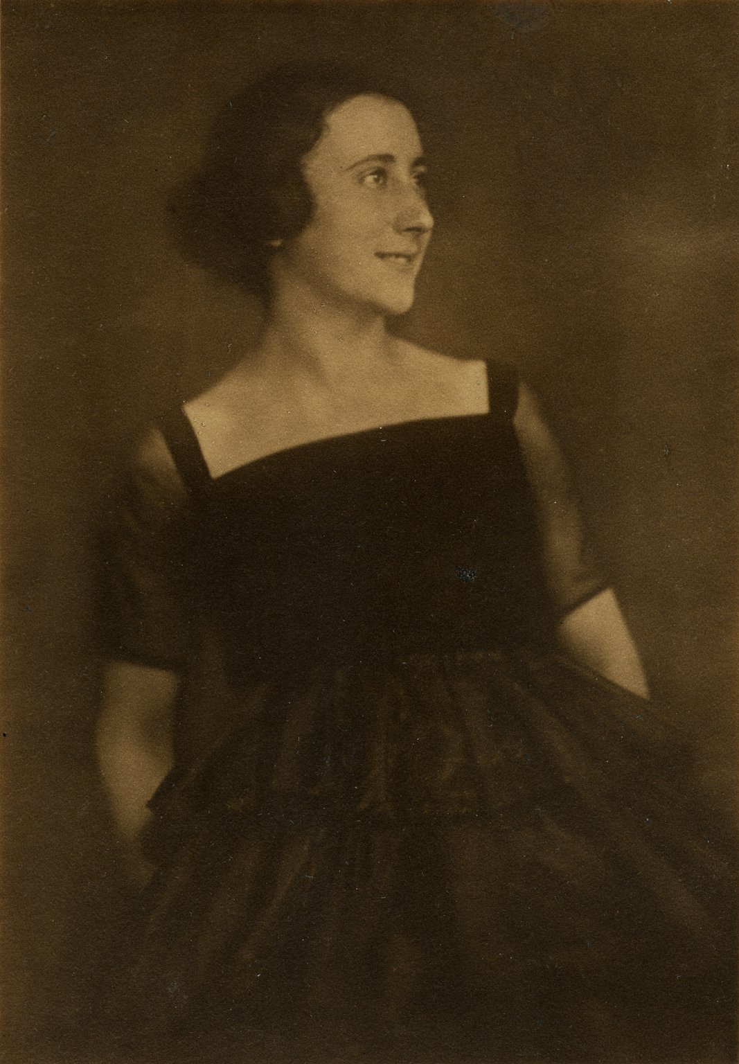 Edith Holländer as a young woman in evening dress, 1920s.
