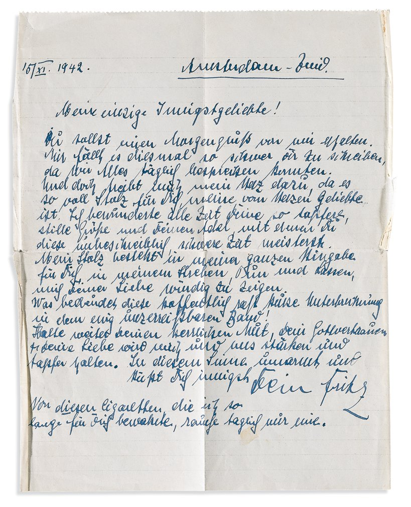 One of the most remarkable items in the exhibition is the farewell letter from Fritz Pfeffer to his fiancée Charlotte Kaletta, written on 15 November 1942. The next day he went into hiding in the Secret Annex.